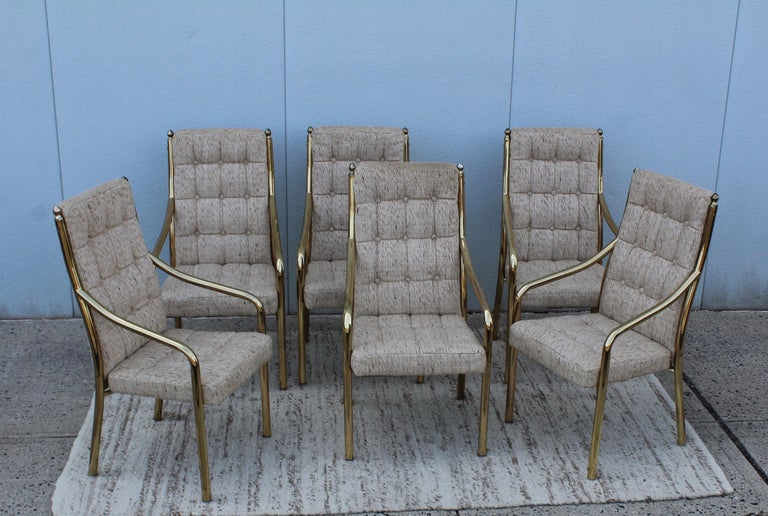 Late 20th Century 1980s Brass Dining Chairs Set of Six For Sale
