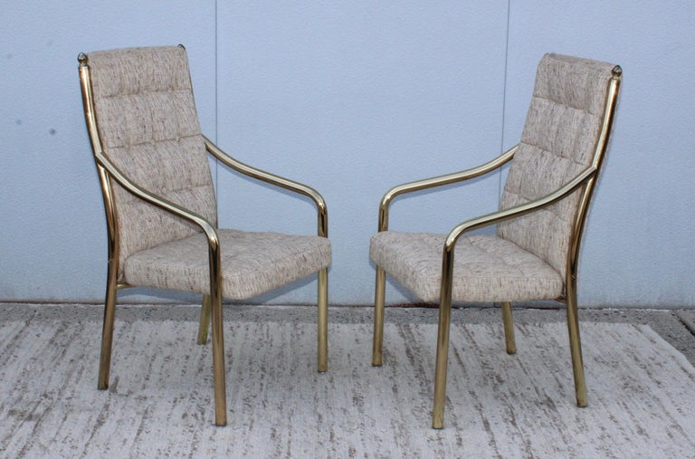 1980s Brass Dining Chairs Set of Six For Sale 1