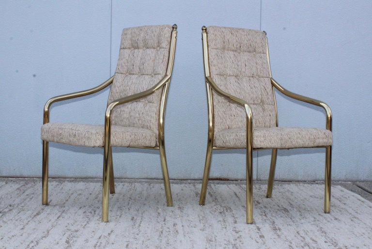 1980s Brass Dining Chairs Set of Six For Sale 2