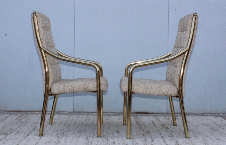 1980s Brass Dining Chairs Set of Six For Sale 3