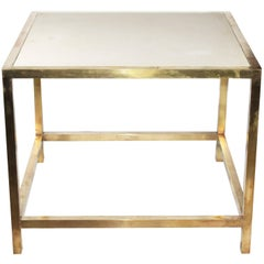 1980s Brass Side Table with Italian Natural Stone Top