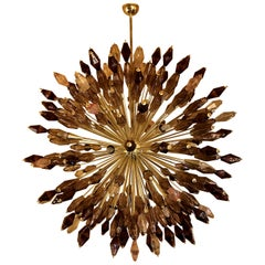 1980s Brass Sputnik Chandelier with Two-Tone of Violet Polyhedron Murano Glasses