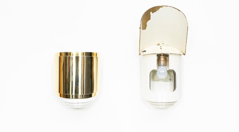 Mid-Century Modern 1980s Brass Wall-Mounted Sconces by Warren Platner For Sale