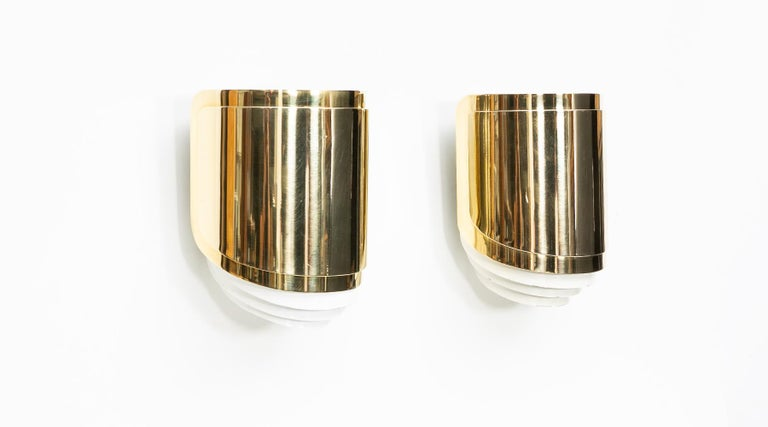 American 1980s Brass Wall-Mounted Sconces by Warren Platner For Sale