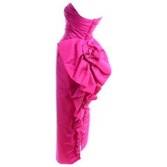 1980s Bright Pink Strapless Vintage Evening Dress With Giant Bow & Ruching