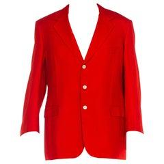 1980S Brioni Red Silk & Wool Men's Hand-Detailed Blazer