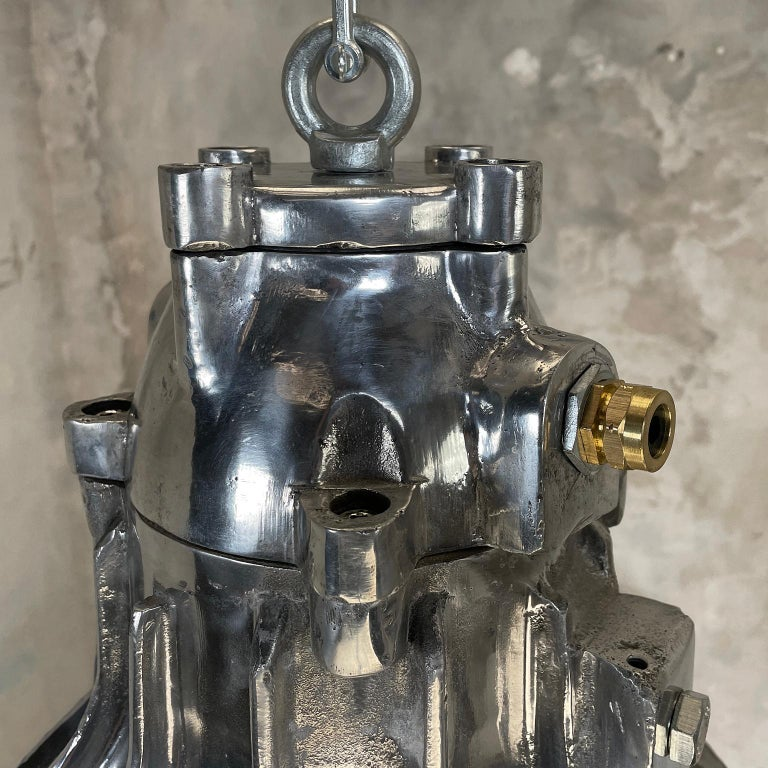 1980's British Crompton Flameproof Industrial Cast Aluminium Pendant Light For Sale 5