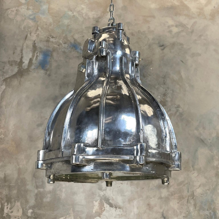 Aluminum 1980's British Crompton Flameproof Industrial Cast Aluminium Pendant Light For Sale