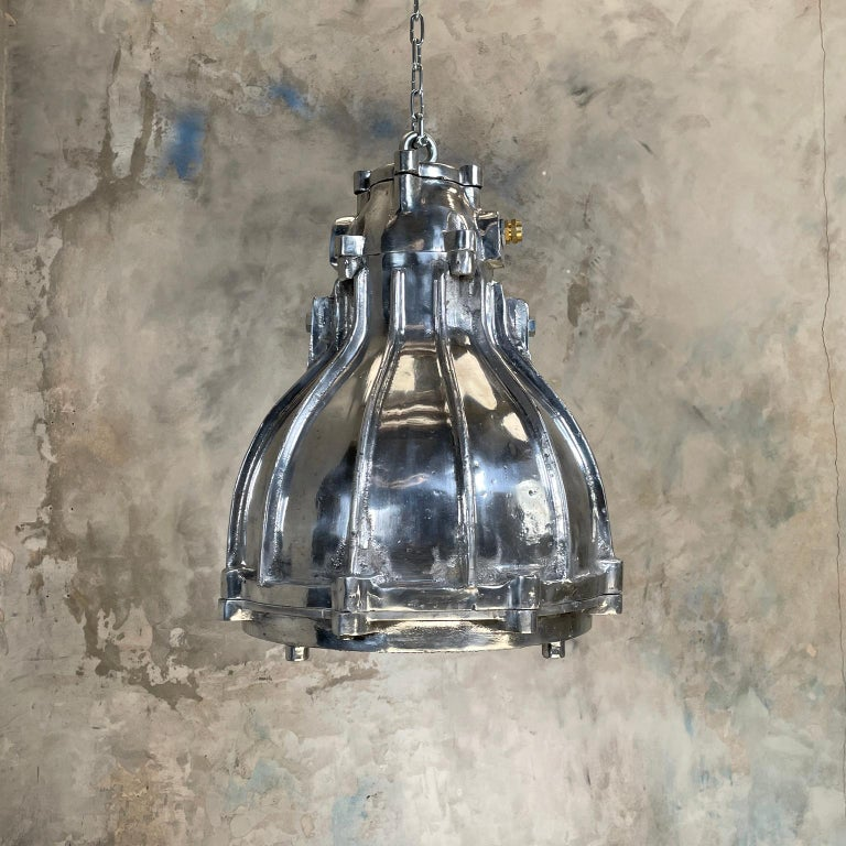 1980's British Crompton Flameproof Industrial Cast Aluminium Pendant Light For Sale 3