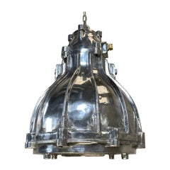 1980's British Crompton Flameproof Industrial Cast Aluminium Pendant Light