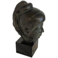 1980s Bronze Bust of Female