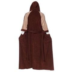 1980S Brown & Beige Colorblocked Velour Fleece Playboy Lounge Robe With Hood