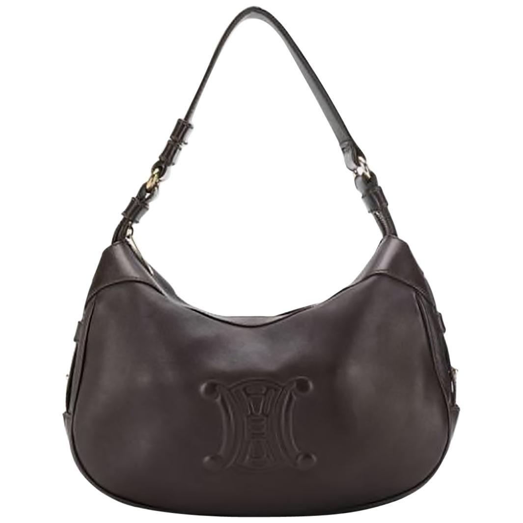 1980s Brown Celine Leather Shoulder Bag