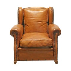 1980s Brown Leather Bergère Club Chair from France with Studded Details
