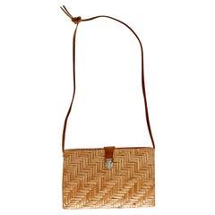 1980s Brown Straw Vintage Shoulder Bag