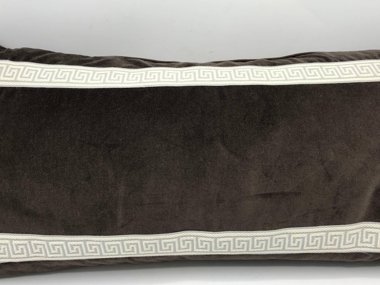 1980s Brown Velvet Lumbar Pillow with Gray and White Greek Key Banding In Good Condition For Sale In Richmond, VA
