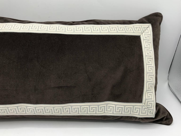 20th Century 1980s Brown Velvet Lumbar Pillow with Gray and White Greek Key Banding For Sale