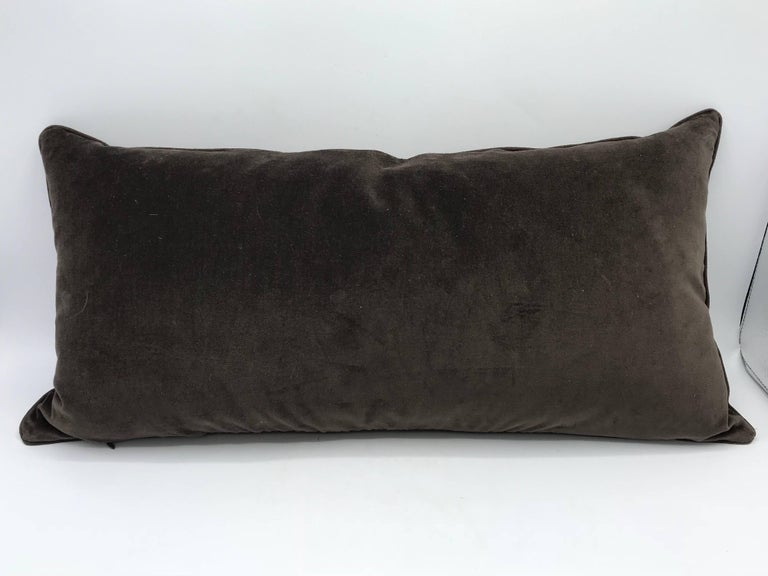 1980s Brown Velvet Lumbar Pillow with Gray and White Greek Key Banding For Sale 1