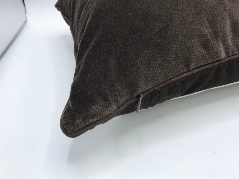 1980s Brown Velvet Lumbar Pillow with Gray and White Greek Key Banding For Sale 2