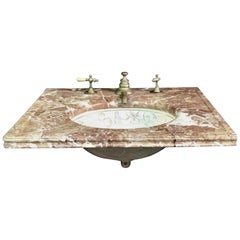 1980s Brownish Marble Vanity Top with Gold Floral Designed Sink and Hardware