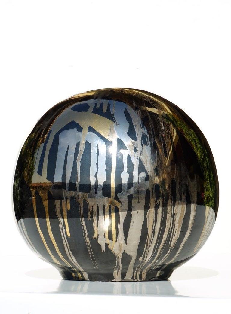 Silver, gold and black ceramic. 1983, Bruno Contenotte Perfect condition  Measure: H 24 cm.