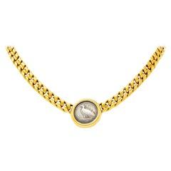 1980s Bulgari 18 Karat Gold Italian Akragas Ancient Coin Collar Necklace