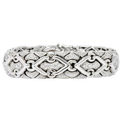 1980s Bulgari 2.40 Carat Diamond 18 Karat White Gold Trika Link Bracelet