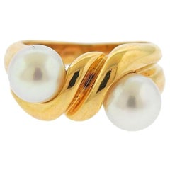 1980s Bulgari Gold Pearl Ring