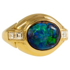 1980s Bulgari Opal, Diamond and Gold Ring