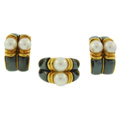 1980s Bulgari Pearl Hematite Yellow Gold Earrings and Ring Set