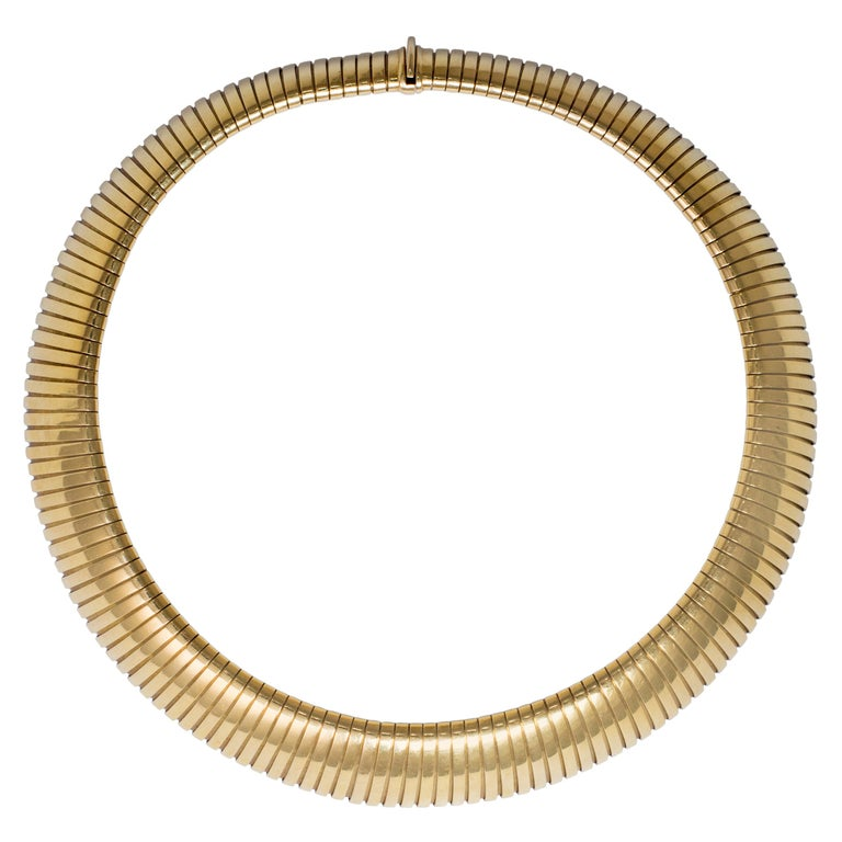 1980s Bulgari Tubogas Collar Necklace For Sale