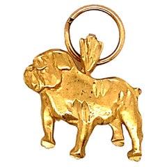 1980s Bulldog Charm in 14 Karat Gold