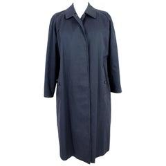 1980s Burberry Blue Cotton Classic Raincoat