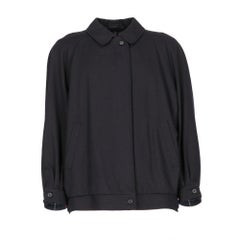 1980s Burberry blue wool short coat
