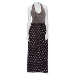 1980S Burgundy, Blue & Grey Wool Blend Knit Long Sleeve French Body-Con Dress