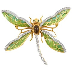 1980s Butterfly Emerald and Citrine Gold Antique Brooch, Made in 18 Karat Gold