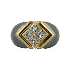 1980s  Bvlgari Hematite Yellow Gold and Diamond Ring