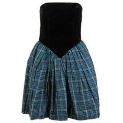 1980s Byblos Black Velvet and Multicolor Tartan Dress