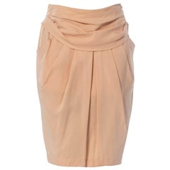 1980S Byblos Blush Pink Silk Faille Skirt With Draped Waist & Pockets
