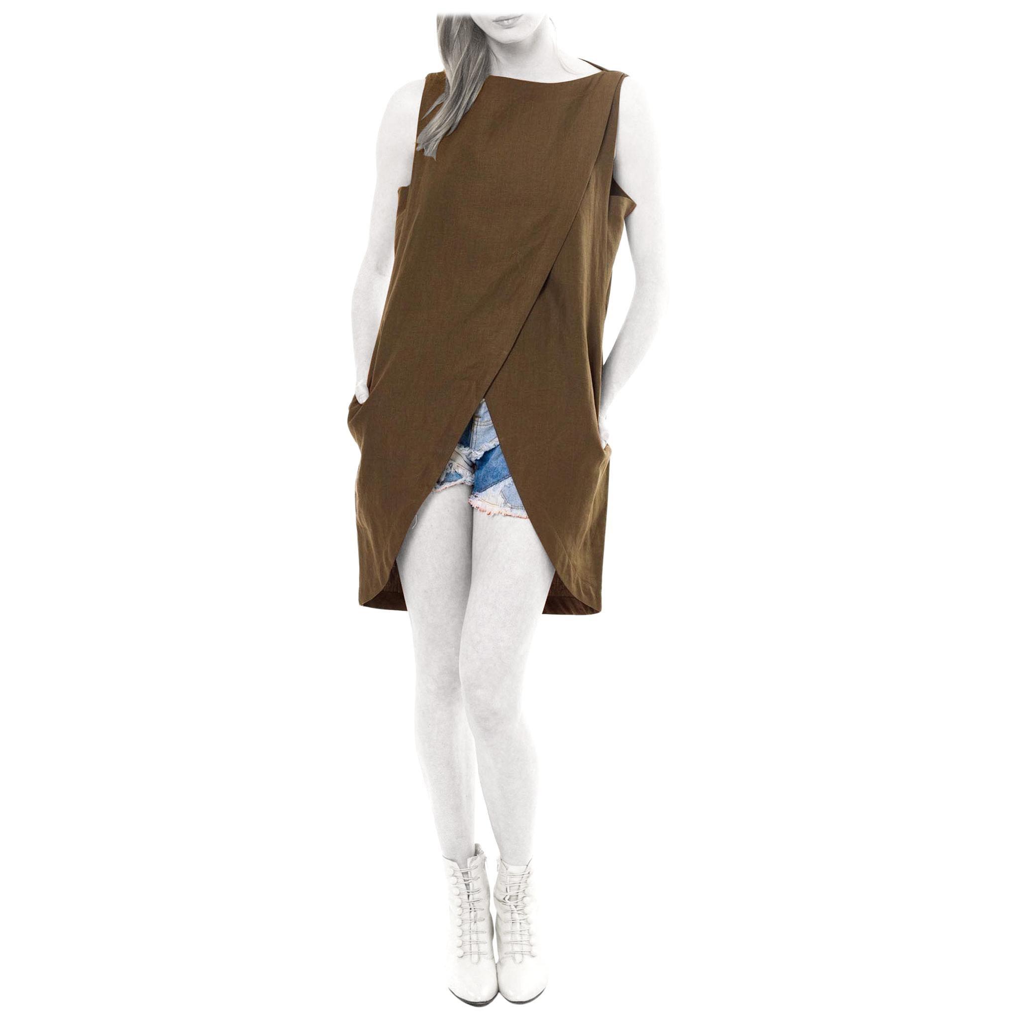 1980S BYBLOS Olive Green Linen Hi Lo Top With Pockets