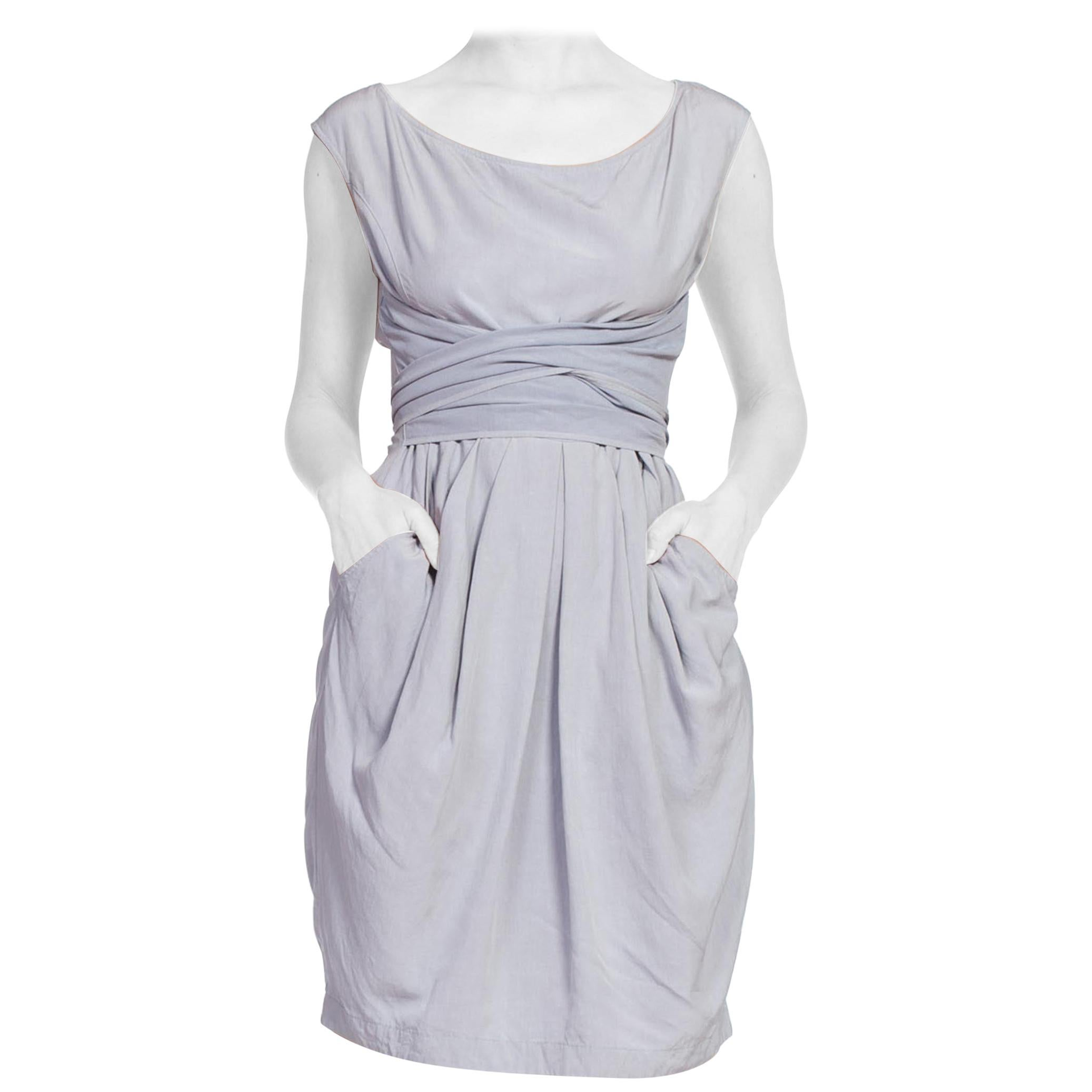 1980'S BYBLOS Dove Grey Washed Silk Tie Waist Dress