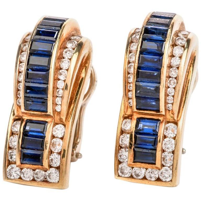 1980s C. Krypell Diamond Sapphire 18 Karat Gold Clip-On Earrings For Sale