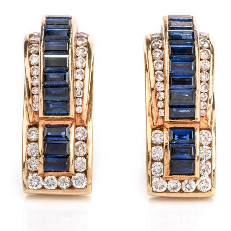 1980's  vintage Elegant Designer Charles Krypell diamond and sapphire earrings for pierced ears crafted in 18K yellow gold.  Material: 18K yellow gold  Weight: 24.9 grams  Dimensions: 25mm x 10mm  Diamonds: 64 round cut Diamonds approx: 1.40cttw,