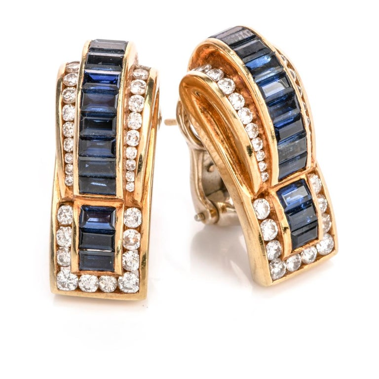 Modern 1980s C. Krypell Diamond Sapphire 18 Karat Gold Clip-On Earrings For Sale