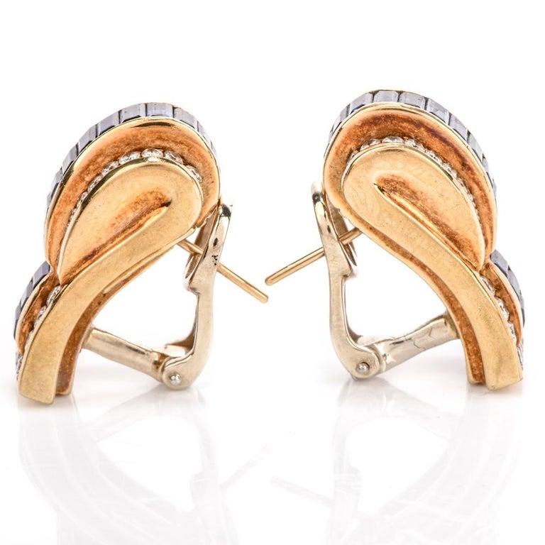 Emerald Cut 1980s C. Krypell Diamond Sapphire 18 Karat Gold Clip-On Earrings For Sale