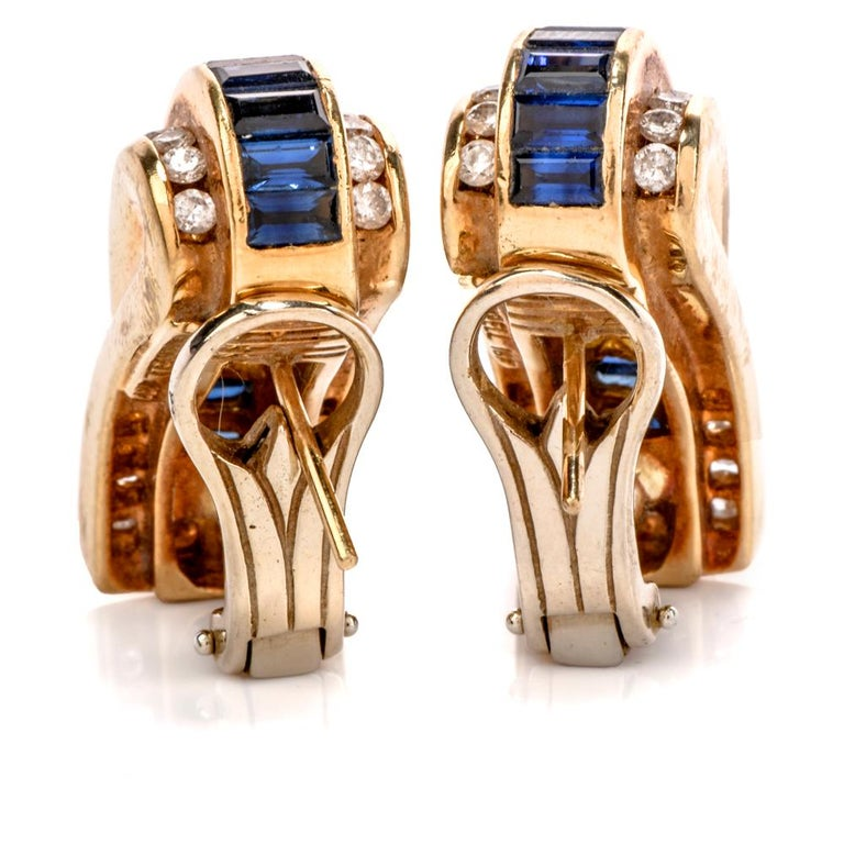 1980s C. Krypell Diamond Sapphire 18 Karat Gold Clip-On Earrings In Excellent Condition For Sale In Miami, FL