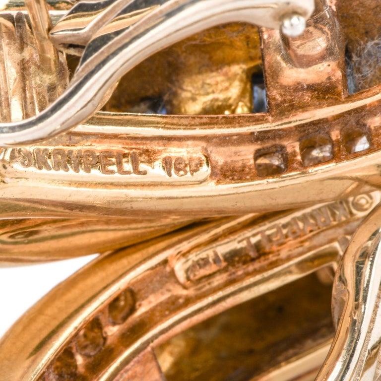 Women's 1980s C. Krypell Diamond Sapphire 18 Karat Gold Clip-On Earrings For Sale