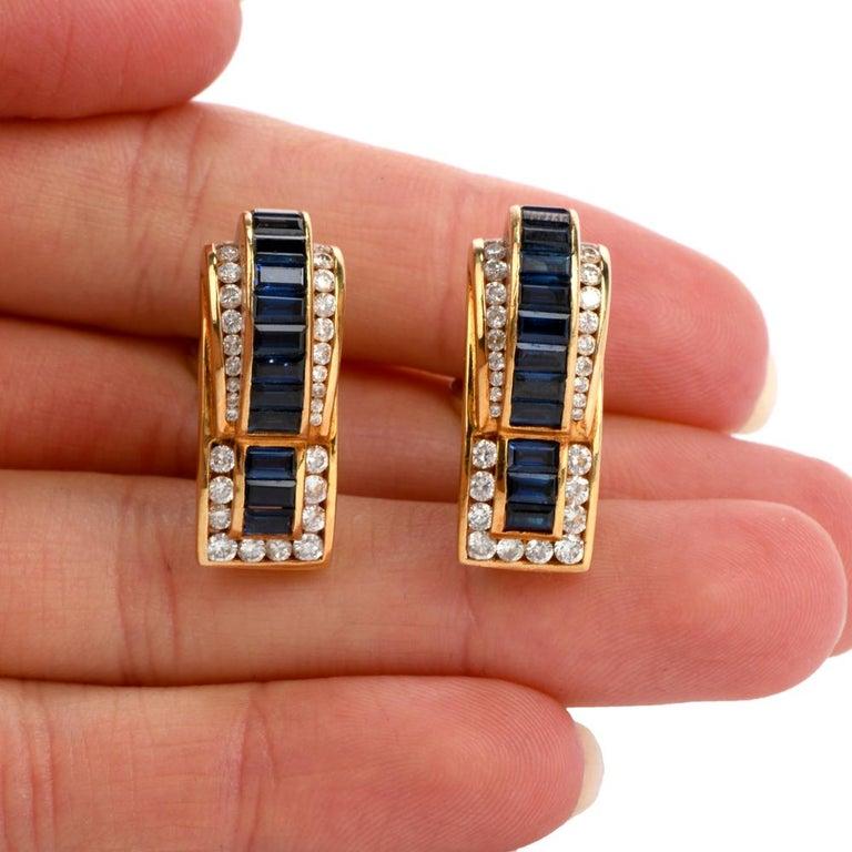 1980s C. Krypell Diamond Sapphire 18 Karat Gold Clip-On Earrings For Sale 1