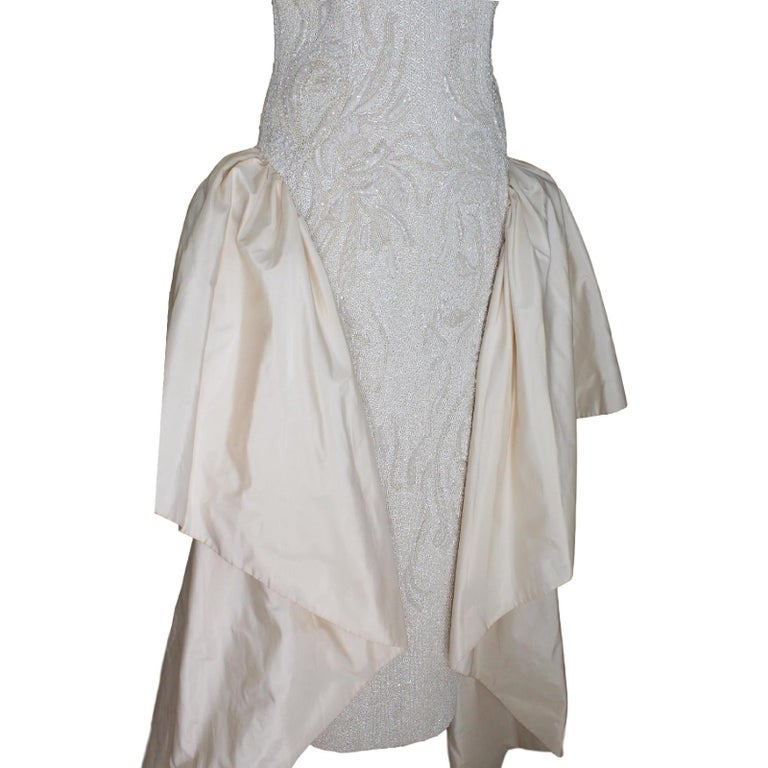 1980s Cailand's Ivory Silk Pearl And Sequins Italian