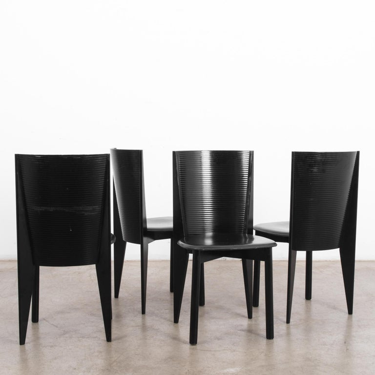 Leather 1980s Calligaris Dining Chairs, Set of Four For Sale